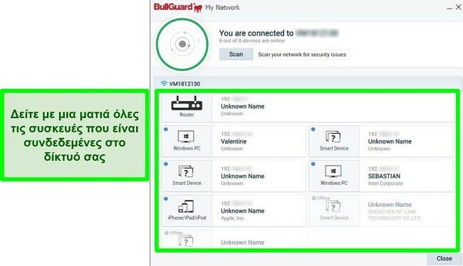 Στιγμιότυπο οθόνης του σαρωτή δικτύου BullGuard και συσκευών που συνδέονται ενεργά σε δίκτυο