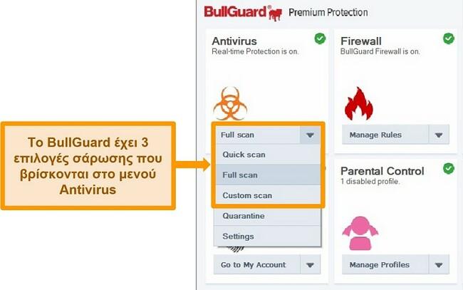 Στιγμιότυπο οθόνης των επιλογών σάρωσης του BullGuard