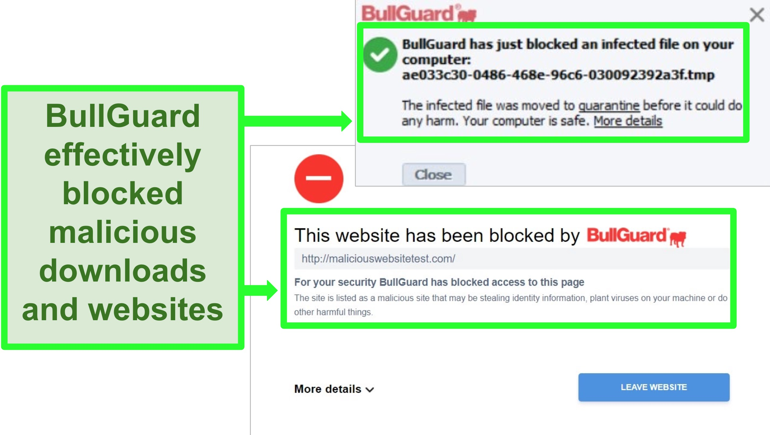 Screenshot of BullGuard's website and download blocks.