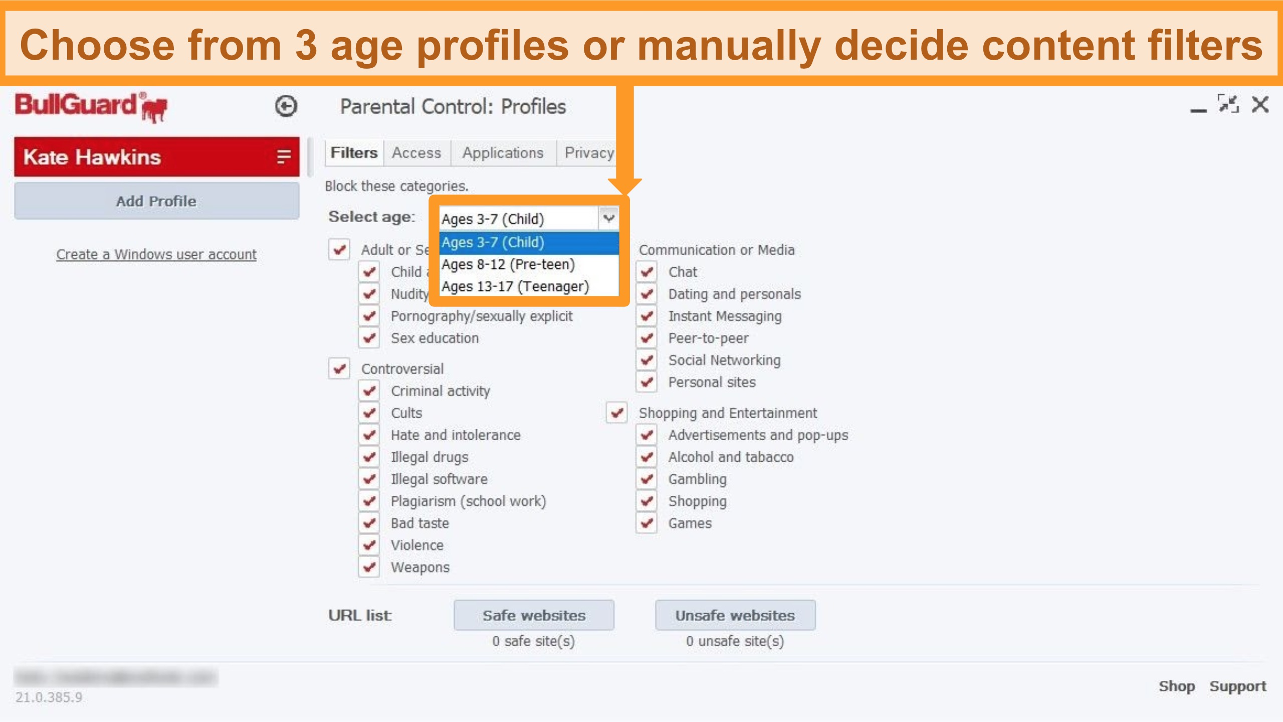 Screenshot of BullGuard's Parental Control settings and profile filters.