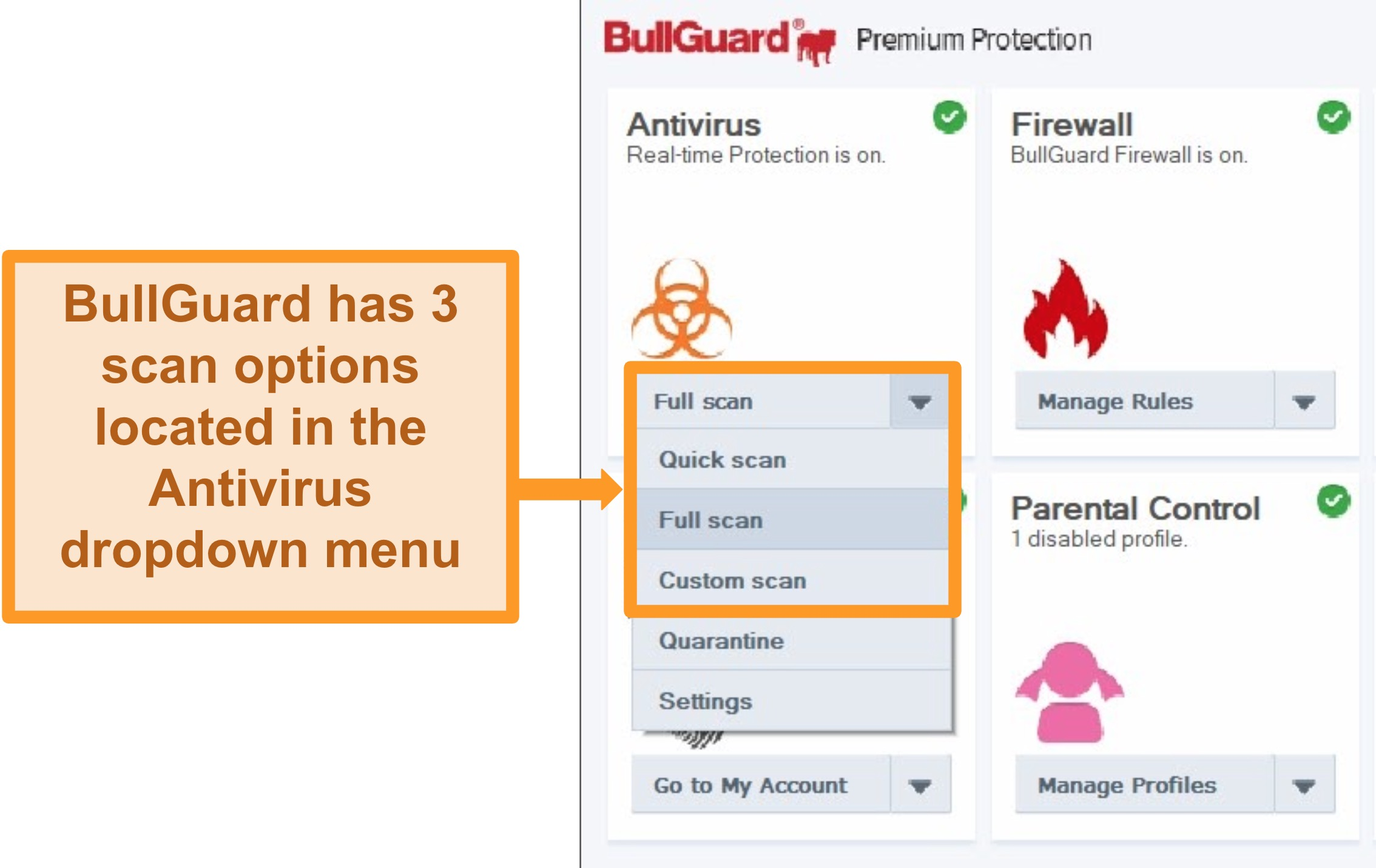 Screenshot of BullGuard's scan options.