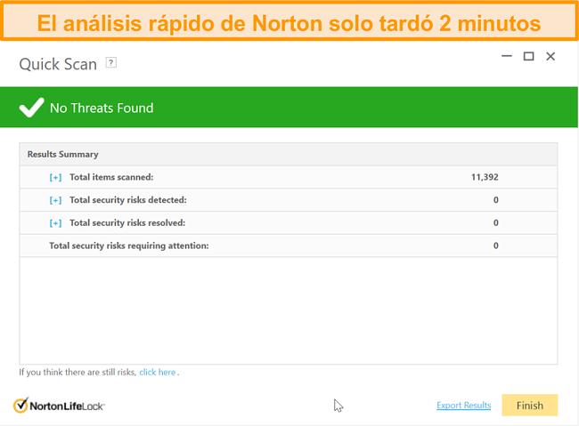 Captura de pantalla del resultado del análisis rápido de Norton 360