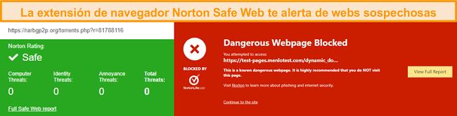 Captura de pantalla de Norton Safe Web que confirma que un sitio es seguro o peligroso.