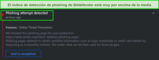Advertencia de phishing de escritorio de Bitdefender.
