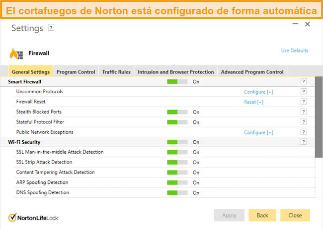 Captura de pantalla de la configuración del firewall de Norton 360 en Windows.