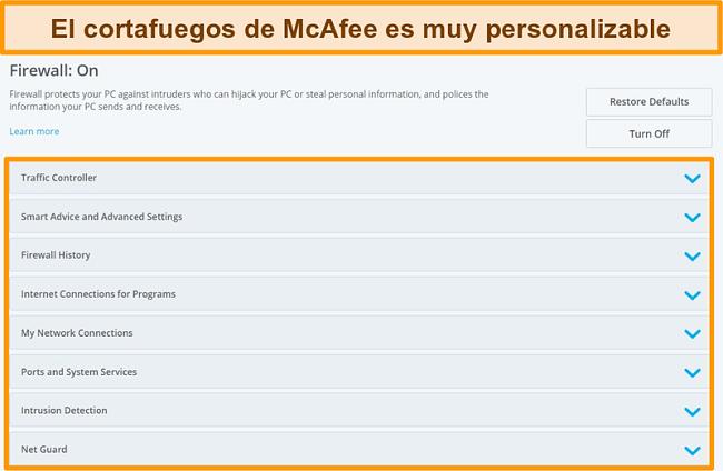 Captura de pantalla de las funciones de McAfee Firewall