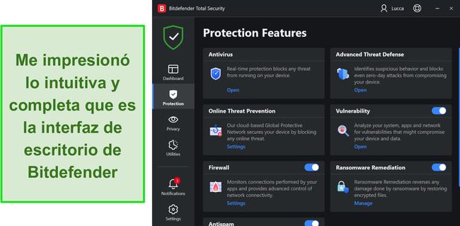 Interfaz de escritorio de Bitdefender