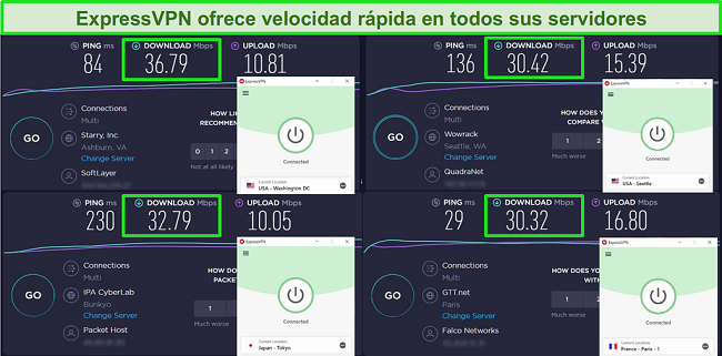 Captura de pantalla de ExpressVPN conectado a diferentes servidores y pruebas de velocidad de Ookla
