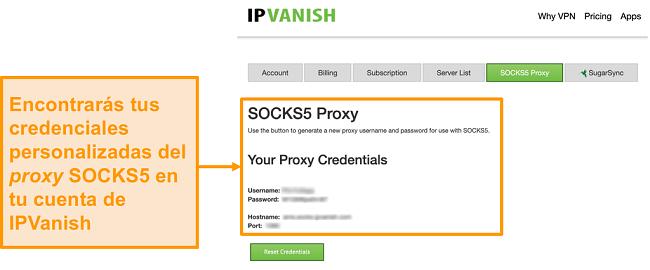 Captura de pantalla de las credenciales gratuitas del servidor proxy SOCKS5 de IPVanish en el sitio web