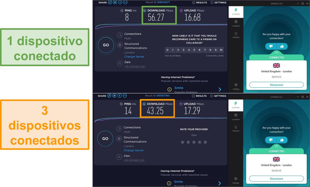 Captura de pantalla de la diferencia de velocidad entre 1 dispositivo conectado y 3 dispositivos conectados