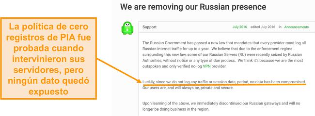 Captura de pantalla del sitio web de Private Internet Access VPN con una publicación de blog que describe la razón detrás del retiro de PIA de Rusia