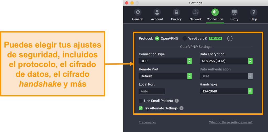 Captura de pantalla de Private Internet Access VPN y su aplicación para Mac que muestra las opciones de personalización de la pestaña Conexión