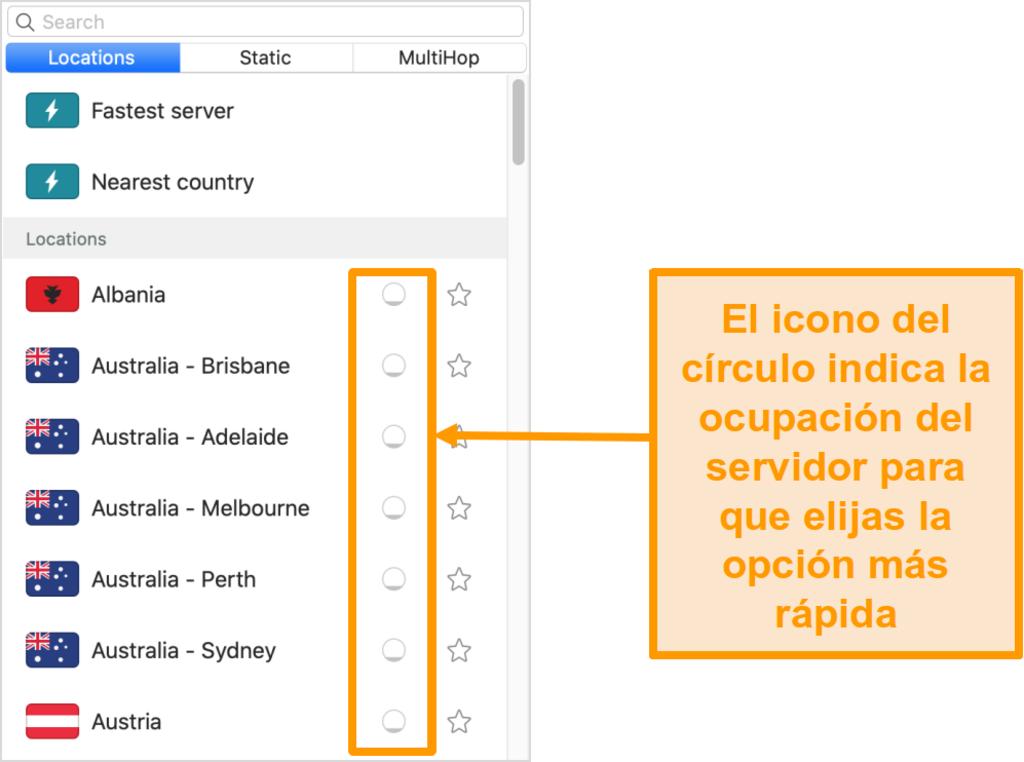 Captura de pantalla de la lista de servidores de Surfshark que muestra la carga del servidor
