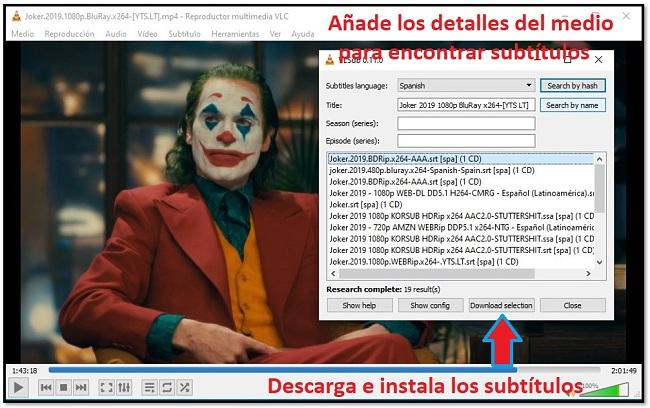 Descargar Subtítulo con VLC