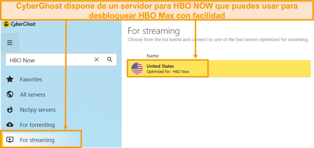 Captura de pantalla del servidor HBO Now de CyberGhost que también desbloquea HBO Max