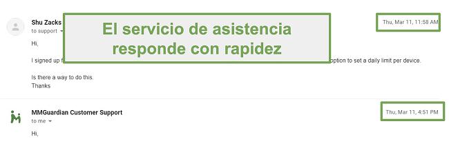 Captura de pantalla de respuesta rápida del servicio de atención al cliente
