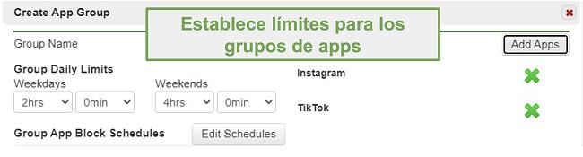 Captura de pantalla para establecer límites en grupos de aplicaciones