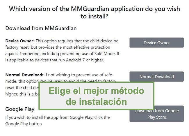 Captura de pantalla de la selección del tipo de instalación