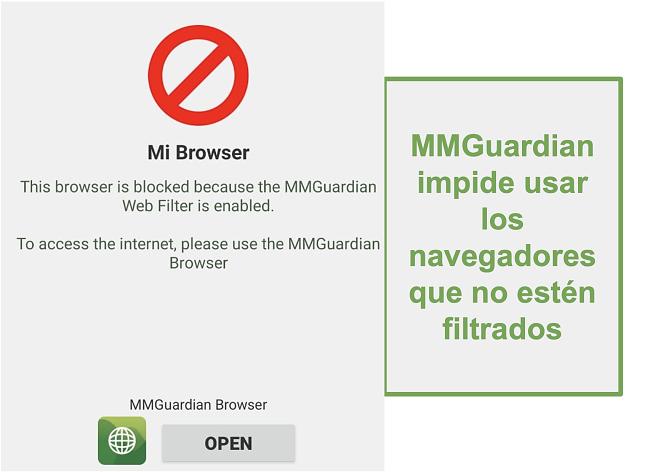Captura de pantalla de MMGuardian que evita que se abran navegadores no filtrados