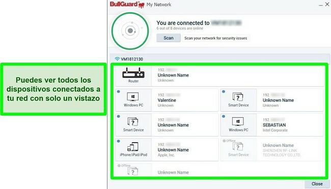 Captura de pantalla del escáner de red de BullGuard y los dispositivos conectados activamente a una red.