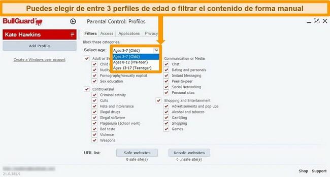 Captura de pantalla de la configuración del control parental y los filtros de perfil de BullGuard.