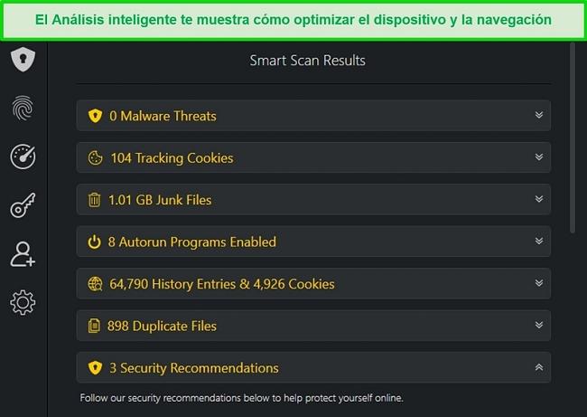 Captura de pantalla de los resultados de Smart Scan