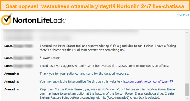 Näyttökuva keskustelusta Nortonin asiakastuen edustajan kanssa live-chatin kautta.