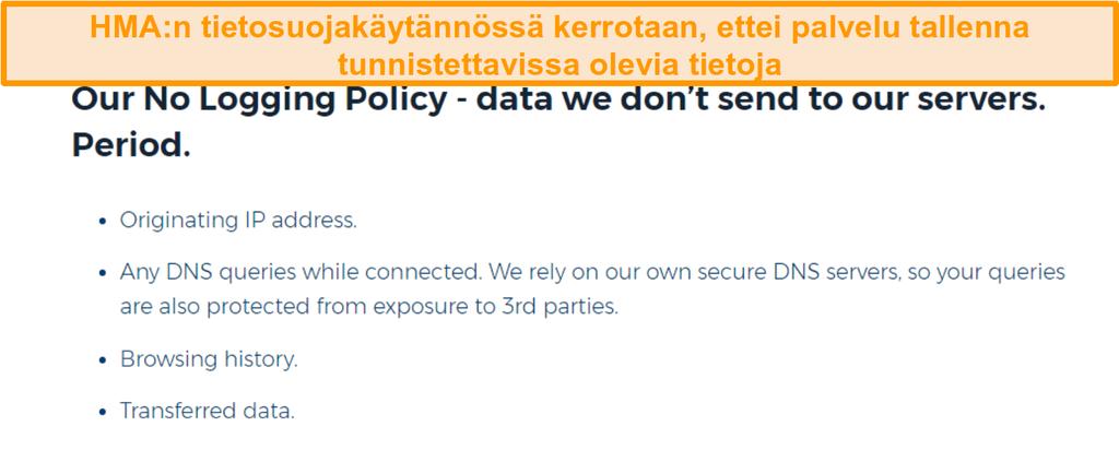 Näyttökuva HMA VPN (Hidemyass) ja sen ei puunkorjuun tietosuojakäytäntö