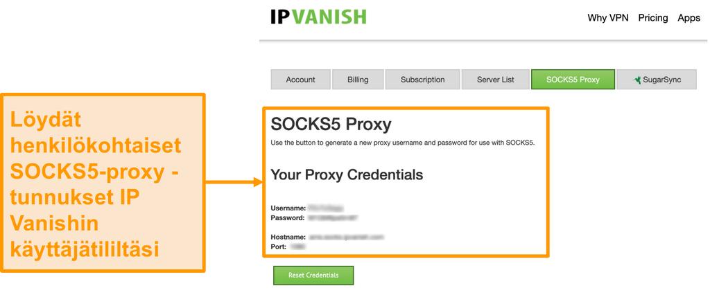 Näyttökuva IPVanishin ilmaisista SOCKS5-välityspalvelimen tunnistetiedoista sivustolla
