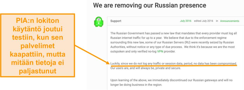Näyttökuva Private Internet Access VPN:n verkkosivustosta, jossa on blogikirjoitus, jossa kuvataan PIA:n venäjältä vetäytymisen syy
