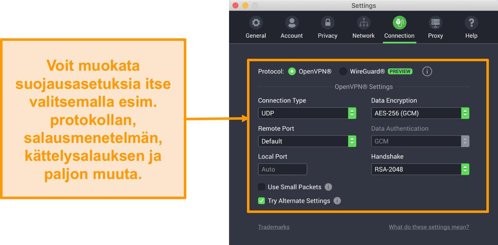 Näyttökuva Private Internet Access VPN:stä ja sen Mac-sovelluksesta, jossa näkyy Yhteys-välilehden mukautusasetukset