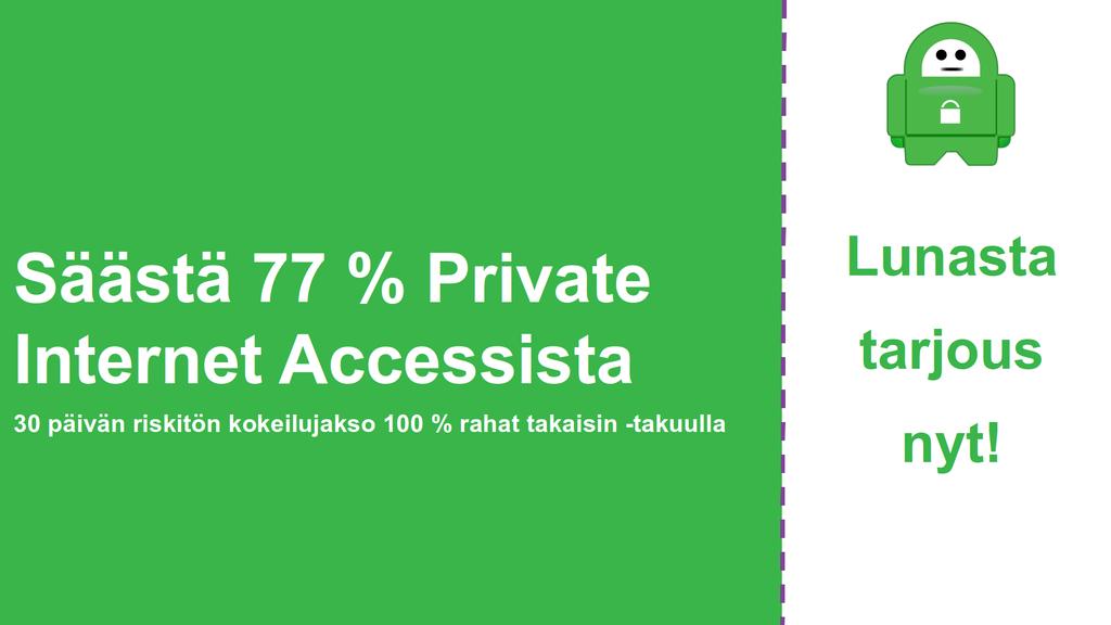Screenshot tärkeimmistä Private Internet Access Kuponki