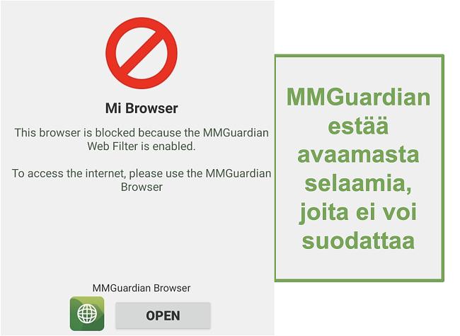 Näyttökuva MMGuardianista, joka estää suodattamattomia selaimia avaamasta