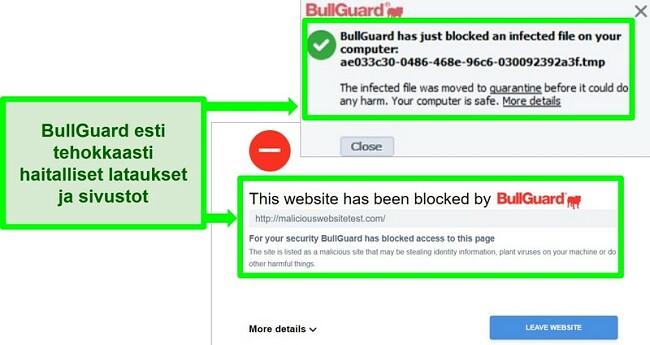 Näyttökuva BullGuardin verkkosivustosta ja latauslohkot.