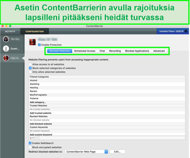 kuvakaappaus ContentBarrier-käyttöliittymästä, joka näyttää erilaiset lapsilukkoasetukset