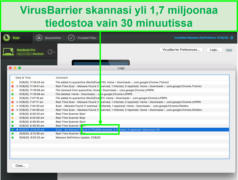 Näyttökuva Integon virustarkistuslokista, joka osoittaa, että se skannasi 1,7 miljoonaa tiedostoa 30 minuutissa