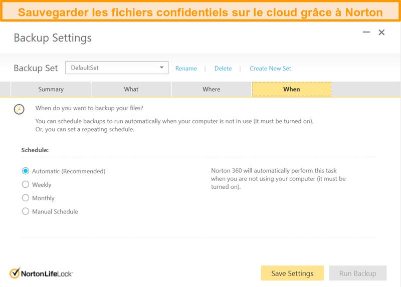 Capture d'écran des options de stockage cloud de Norton 360 et de la sélection de la fréquence de sauvegarde.