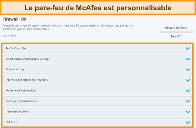 Capture d'écran des fonctionnalités de McAfee Firewall