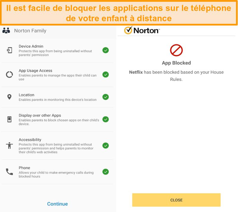 Capture d'écran de la présentation du contrôle parental de Norton 360 sur mobile