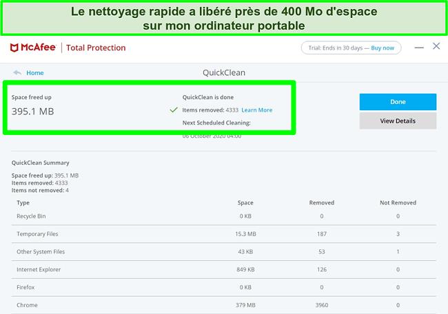 Capture d'écran de la fonctionnalité McAfee QuickClean sous Windows