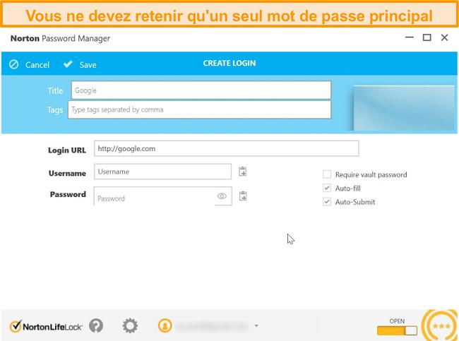 Capture d'écran du coffre-fort du gestionnaire de mots de passe de Norton 360