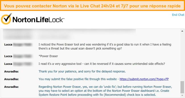 Capture d'écran d'une conversation avec un agent du support client Norton via le chat en direct.