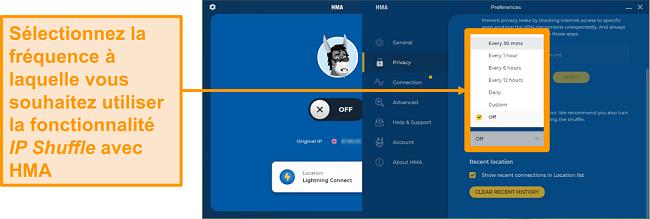 Capture d'écran de l'application VPN HMA montrant la fonctionnalité IP Shuffle