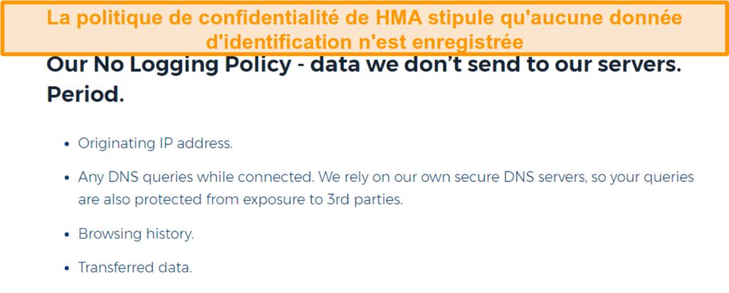 Capture d'écran de HMA VPN (Hidemyass) et sa politique de confidentialité sans journalisation