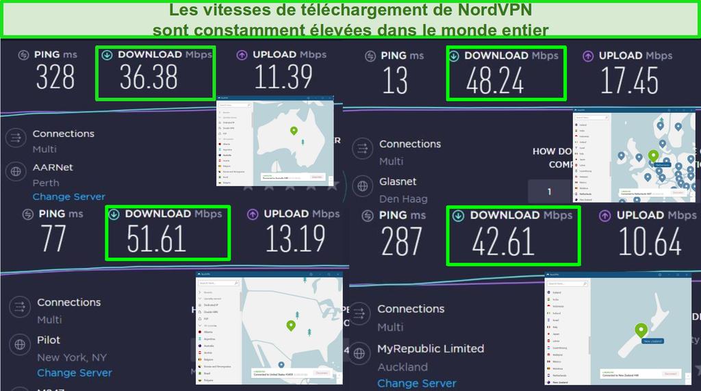 Captures d'écran de NordVPN connectées à différents serveurs mondiaux et tests de vitesse Ookla