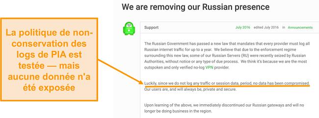 Capture d'écran du site Web de Private Internet Access VPN avec un billet de blog décrivant la raison du retrait de PIA de Russie
