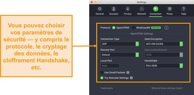 Capture d'écran du VPN d'accès Internet privé et de son application pour Mac affichant les options de personnalisation de l'onglet Connexion