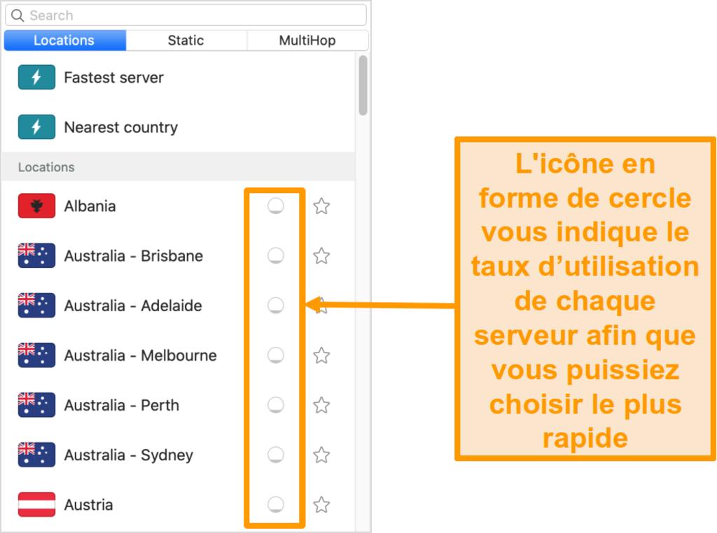 Capture d'écran de la liste de serveurs de Surfshark affichant la charge du serveur