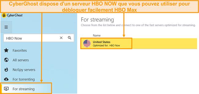 Capture d'écran du serveur HBO Now de CyberGhost qui débloque également HBO Max