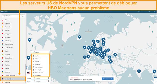 Capture d'écran des serveurs régionaux américains NordVPN pour débloquer HBO Max depuis l'étranger